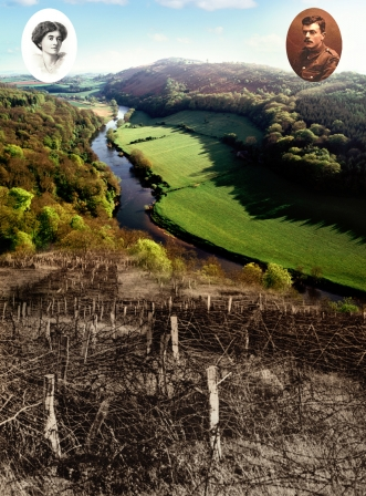 Black and white First World War trenches covered by barbed wire, merging into green Wye Valley and River Wye.