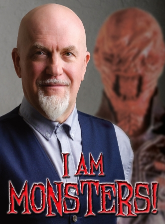 Poster for the one man show I AM MONSTERS!, showing actor Nicholas Vince (a bald man with a beard) before the character Chatterer, a monster with exposed teeth.