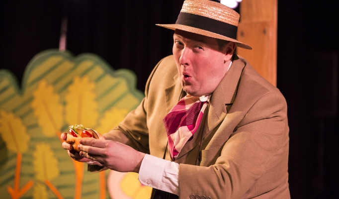 The Giant Jam Sandwich Production shot of a man eating a sandwich