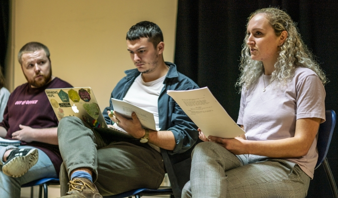 Alistair Wilkinson, Reece McMahon and Vicky Moran in No Sweat Rehearsals