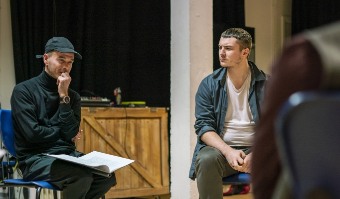 James Haymer and Reece McMahon in No Sweat Rehearsals